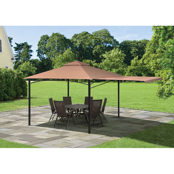 Redwood Brown Bronze 11 x 11 Feet Gazebo with Square Tube Brow Frame and Awning, image 3