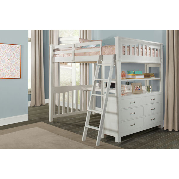 Highlands White Full Loft Bed With Desk, image 1
