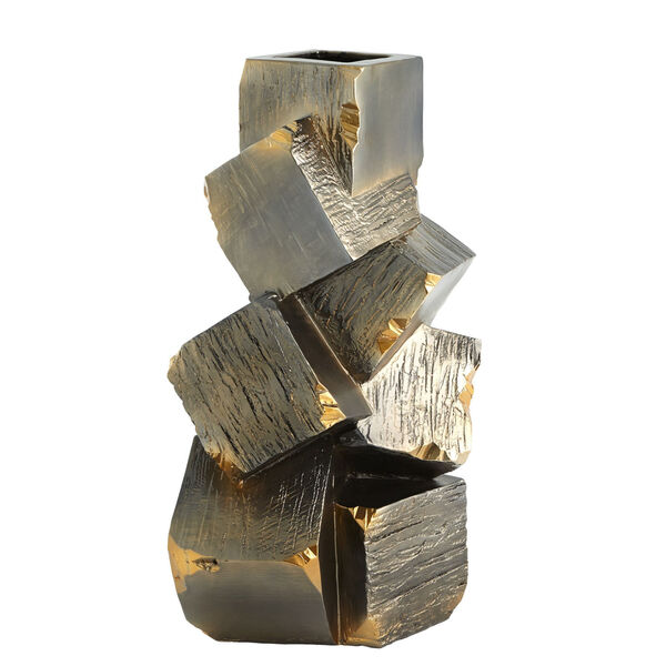 Black and Gold 12-Inch Faux Pyrite Vase, image 6