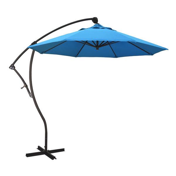 Bayside Bronze with Canvas Cyan Nine-Feet Sunbrella Patio Umbrella, image 1
