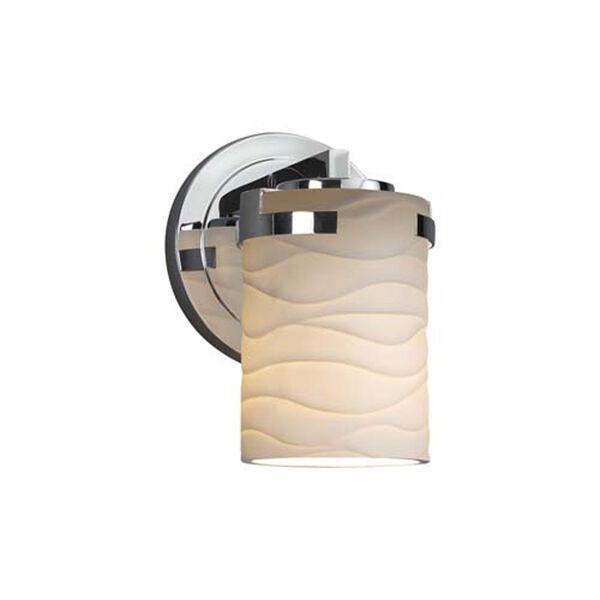 Limoges - Atlas Polished Chrome LED LED Wall Sconce with Cylinder Flat Rim Waves Shade, image 1