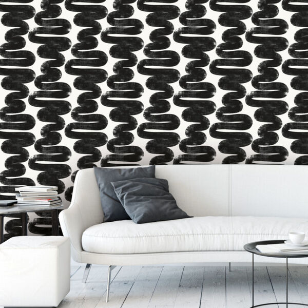 Bobby Berk White and Black Wiggle Room Peel and Stick Wallpaper, image 1