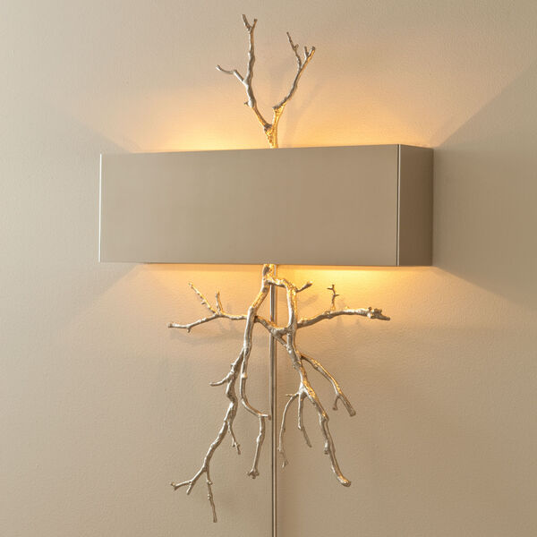 Nickel Twig Two-Light Hardwired Wall Sconce, image 1