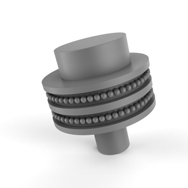 Matte Gray Two-Inch Cabinet Knob with Dotted Ring Detail, image 1