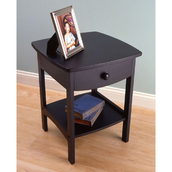 Curved Black Wooden Night Stand, image 1