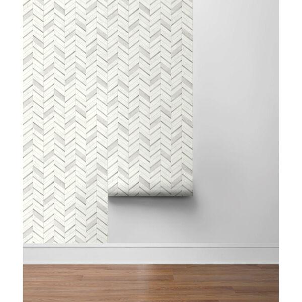 NextWall Gray Chevron Marble Tile Peel and Stick Wallpaper, image 5