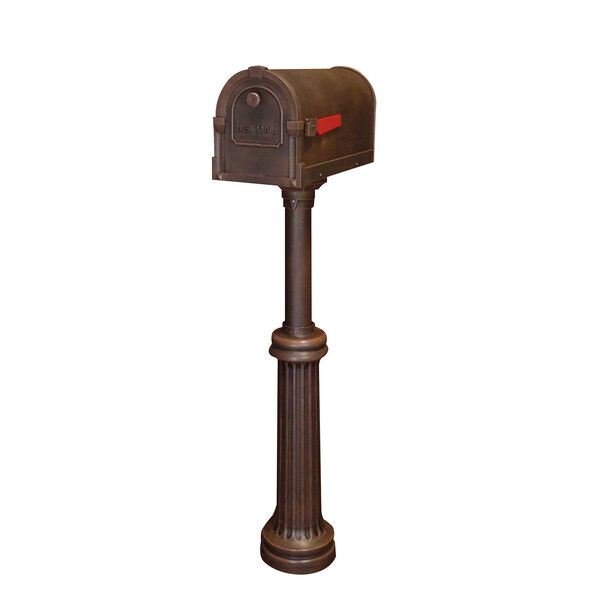 Savannah Copper Curbside Mailbox with Bradford Mailbox Post Unit, image 2