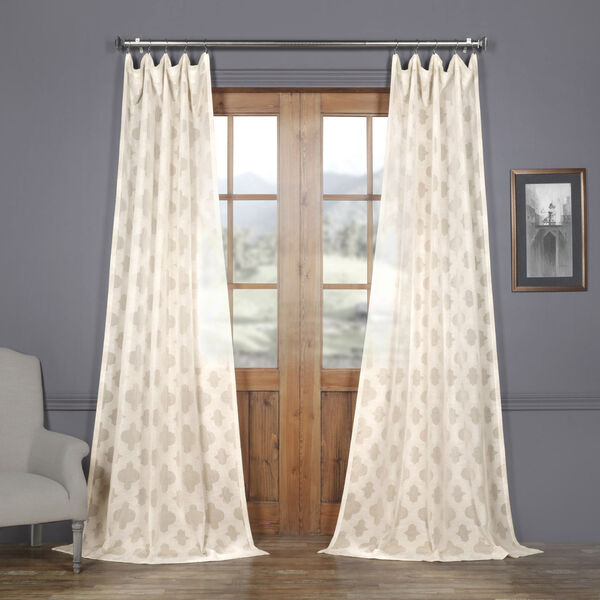 Ivory Tile Patterned Faux Linen Sheer 108 x 50 In. Curtain Single Panel, image 1