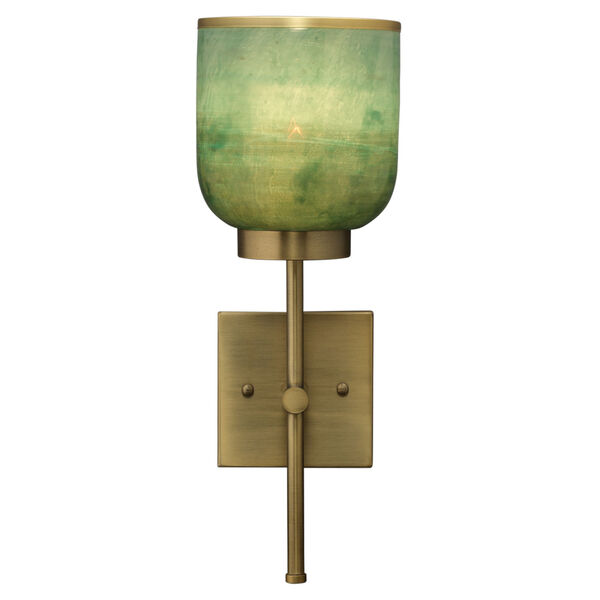 Vapor Antique Brass and Aqua Metallic Glass One-Light Wall Sconce, image 2