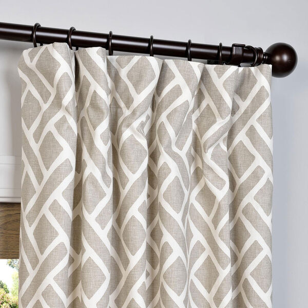 Martinique Taupe 84 x 50-Inch Printed Cotton Curtain Single Panel, image 2