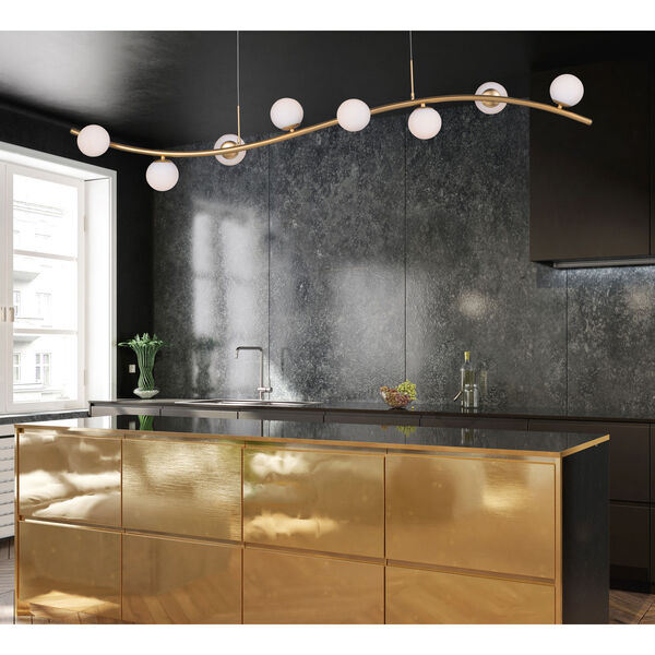Rover Metallic Gold Eight-Light LED Linear Mini Pendant With Matte White Glass, image 2