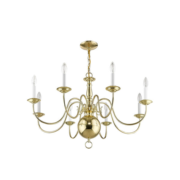 Williamsburgh Polished Brass 32-Inch Eight-Light Chandelier, image 6
