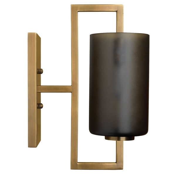 Antique Brass And  Gray Frosted Glass One-Light Wall Sconce, image 2