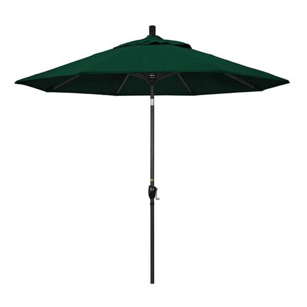 9 Foot Umbrella Aluminum Market Push Tilt - Matte Black/Olefin/Hunter Green, image 1