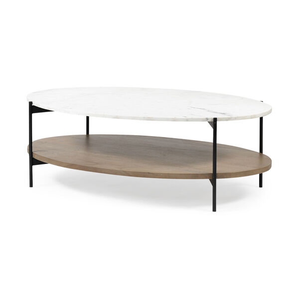 Larkin I Black and White Oval Marble Top Coffee Table, image 1