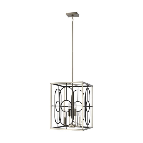 Rennie Brushed Nickel Four-Light Small Pendant, image 1