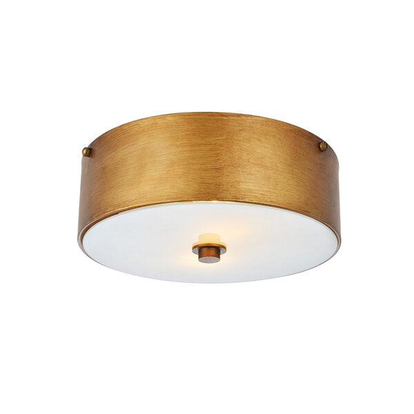 Hazen Vintage Gold and Frosted White Two-Light Flush Mount, image 1
