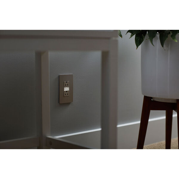 Nickel Night Light with Two 15A Tamper-Resistant Outlets, image 4