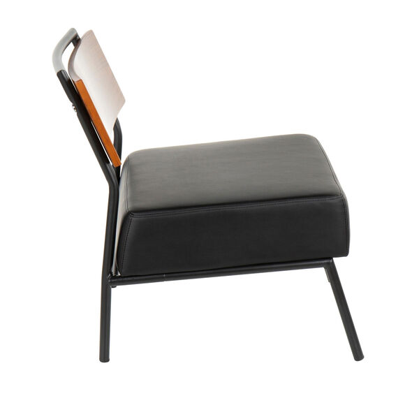 Fiji Walnut Wood and Black Armless Accent Chair, image 2