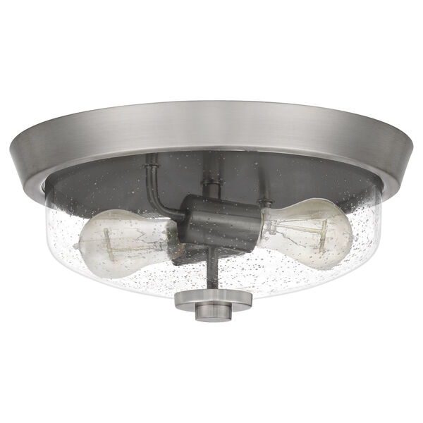 Radius Brushed Nickel 13-Inch Two-Light Flush Mount with Clear Seeded Glass, image 2