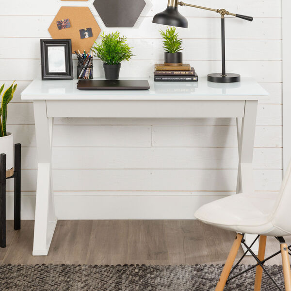 Home Office 48-inch White Glass Computer Desk, image 4