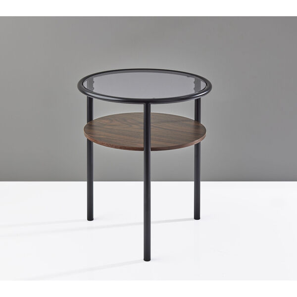 Gavin Black and Walnut Two-Tiered End Table, image 3