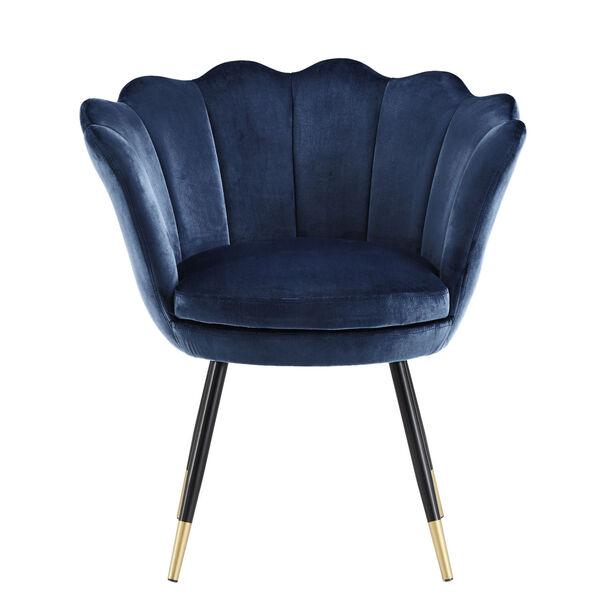 Stella Navy Blue Velvet Seashell Armless Chair with Black and Gold Leg, image 2