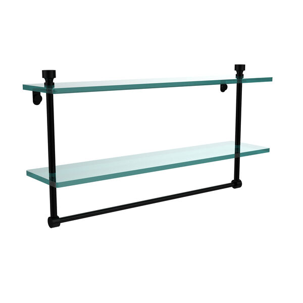 Matte Black 22 Inch Double Glass Shelf with Towel Bar, image 1