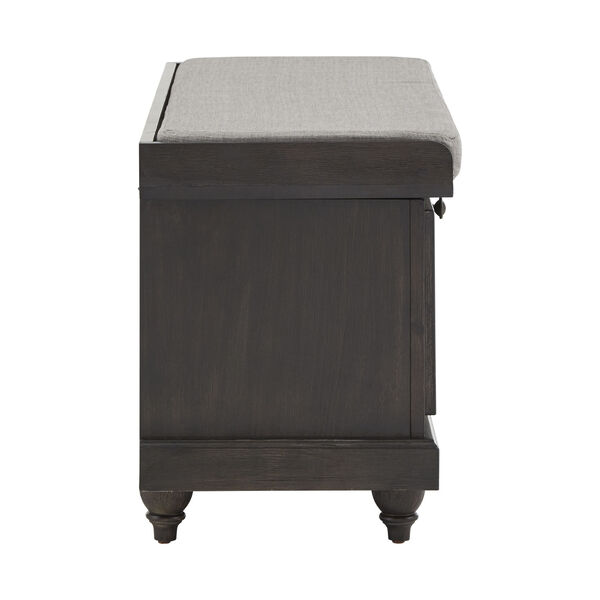 Potter Black Storage Bench with Linen Seat Cushion, image 3