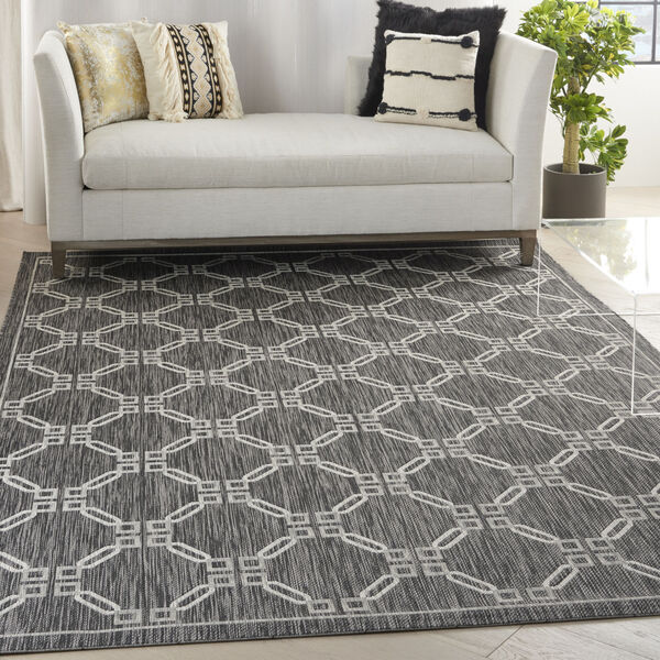 Garden Party Charcoal and Gray 7 Ft. x 10 Ft. Rectangle Indoor/Outdoor Area Rug, image 1