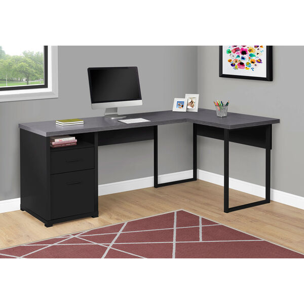 Black and Gray 47-Inch Computer Desk with Side Drawers, image 2