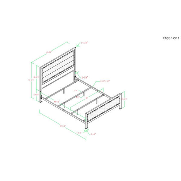 Queen Size Industrial Wood and Metal Bed - Grey Wash, image 6