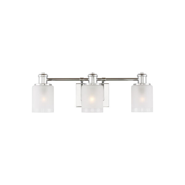 Norwood Chrome Three-Light Bath Vanity with Clear Highlighted Satin Etched Shade, image 1