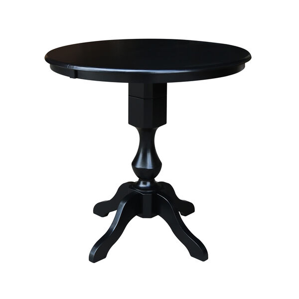 Black 36-Inch Curved Pedestal Counter Height Table with 12-Inch Leaf, image 1