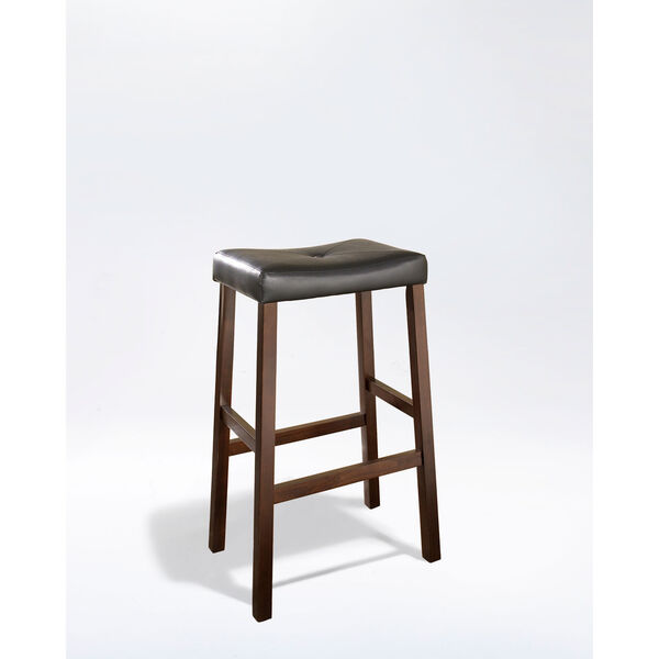 Upholstered Saddle Seat Bar Stool in Vintage Mahogany Finish with 29 Inch Seat Height- Set of Two, image 1