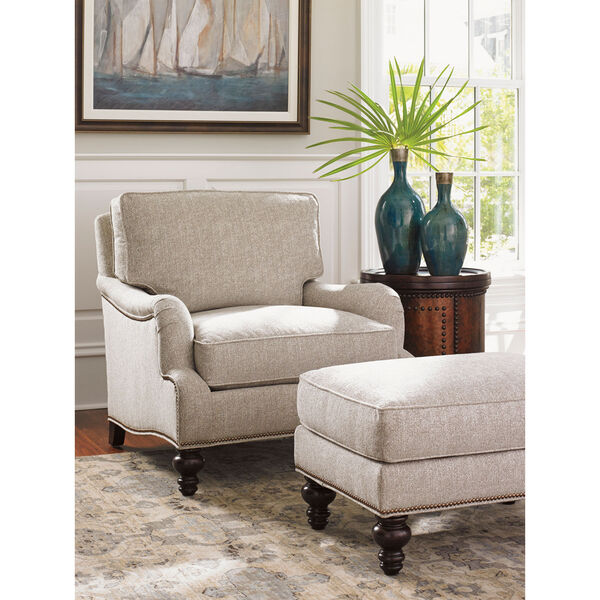 Tommy Bahama Upholstery Brown and Beige Amelia Ottoman, image 2