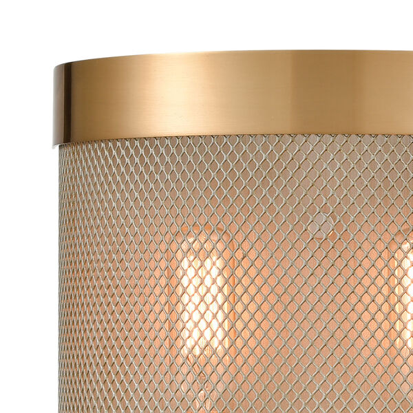 Line in the Sand Satin Brass and Antique Silver Two-Light Wall Sconce, image 3
