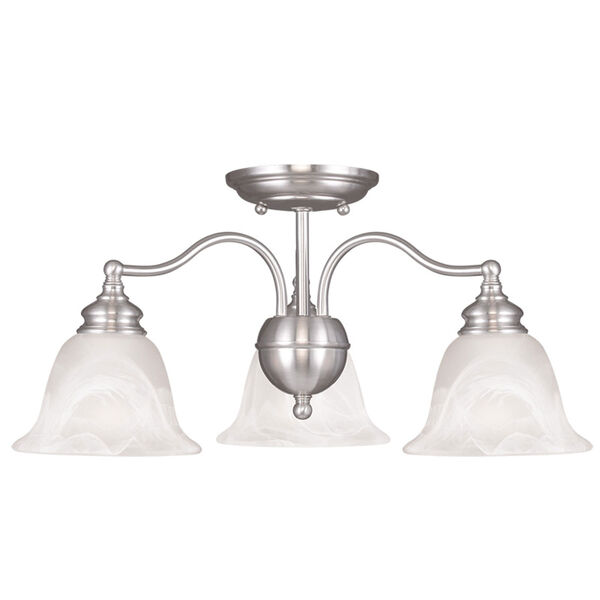 Essex Brushed Nickel Three Light Convertible Chandelier and Ceiling Mount, image 2