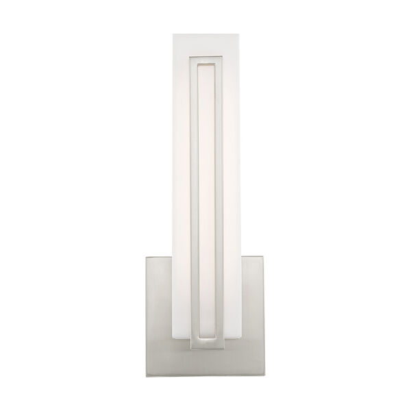 Fulton Brushed Nickel 4-Inch ADA Wall Sconce with Satin White Acrylic Shade, image 3
