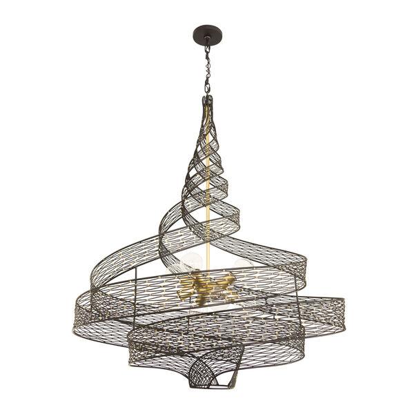 Flow Matte Black French Gold Eight-Light Chandelier, image 3
