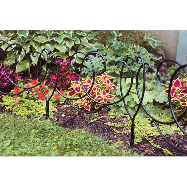 Black Powdercoat Scroll Border Fence Section, Set of Four, image 5