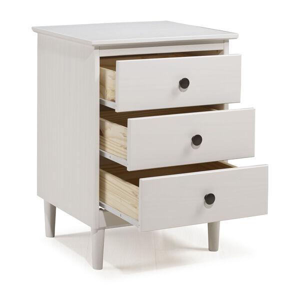 White Three Drawer Nightstand, image 3