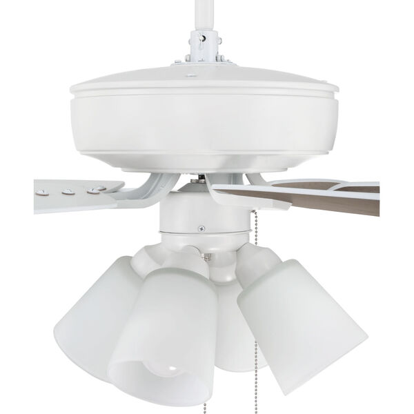 Pro Plus White 52-Inch Four-Light Ceiling Fan with White Frost Bell Shade, image 6