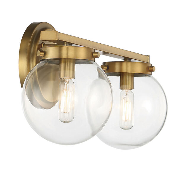 Cora Natural Brass Two-Light Bath Vanity with Clear Glass, image 5
