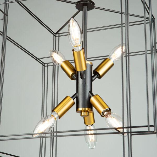 Artisan Black and Brushed Brass Six-Light Pendant, image 5