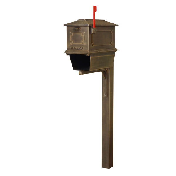 Kingston Curbside Copper Mailbox with Newspaper Tube and Springfeild Mailbox Post, image 2