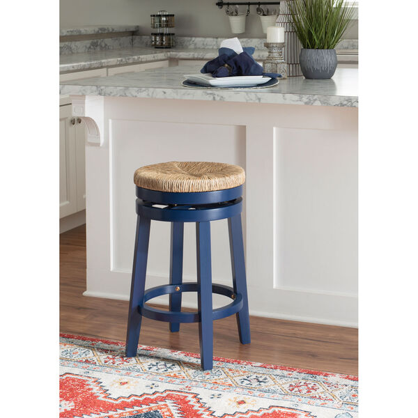 Ellie Navy Blue and Natural 25-Inch Swivel Counter Stool, image 1
