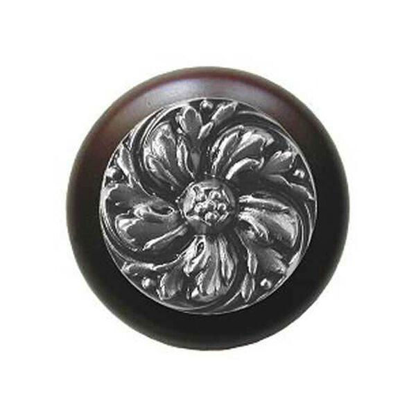 Dark Walnut Chrysanthemum Knob with Satin Nickel , image 1