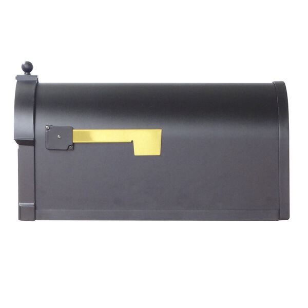 Curbside Black Mailbox with Front Numbers and Baldwin Front Single Mounting Bracket, image 3