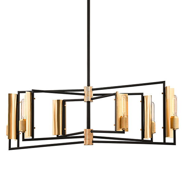 Cleo Black and Brass Six-Light 37-Inch Chandelier, image 1